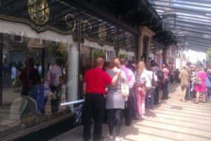 Queue outside Bettys, Harrogate